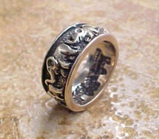 Elephants ~ Sterling Silver Textured Oxidized Fashion Band Ring Sz 6