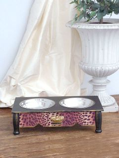 Shabby Cottage Chic 4 Elevated Leopard Dog Pet Feeder