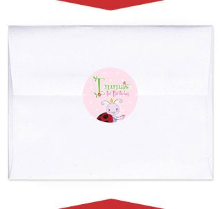 24 Ladybug Birthday Party Invitation Envelope Seals
