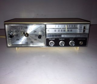 Vintage Elgin 12 Transistor Am FM Radio Alarm Clock Japan Works Great