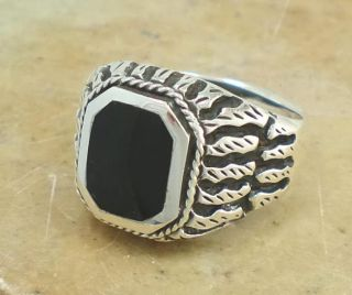 Exotic Mens 925 Sterling Silver Onyx Ring Size 11
