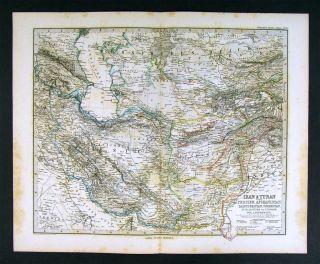 1882 Stieler Map Iran Turan Iraq Afghanistan Pakistan