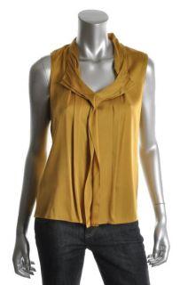 Elie Tahari New Gold Silk Pleated Front Sleeveless Blouse Top s BHFO