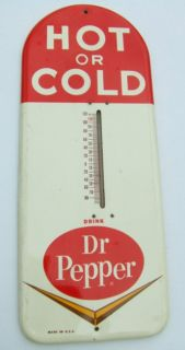 Vintage Dr Pepper Tin Thermometer Sign Antique Very Good Original