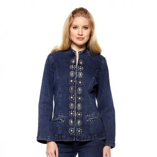 223 106 diane gilman concho and stud embellished denim jacket note