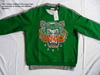 Kenzo Paris Tiger Sweater Green Sweatshirt Normal Size Medium Femme XL