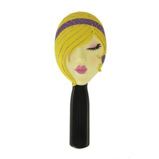 Hand Mirror Sleeping Face Blonde Purple Headband Makeup