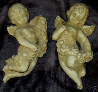 Eros Cupid Wall Sculpture Cherub with Garland Pair