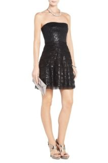2012$368 BCBG Max Azria Seri Sequined Dress Strapless Cocktail Party