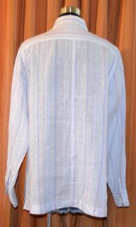 Faconnable Long Sleeve Purple Blue White Linen Stripe Shirt Ladies