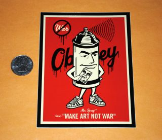 Obey Giant Shepard Fairey Large Mr. Spray Can Make Art sticker Decal