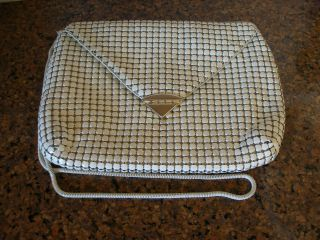 Vintage White Leather Mesh Purse Bag Clutch Goldtone Trimming Purse