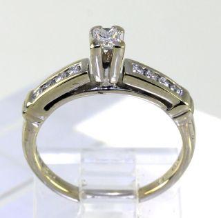 25ct 9 F Color Princess Round Diamond 14k White Gold Channel