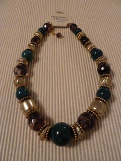 Erica Lyons Blue Green Gold Necklace