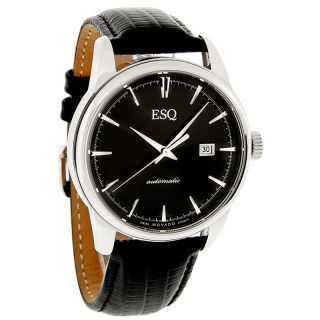 ESQ by Movado Chronicle Mens Swiss Automatic Black Leather Dress Watch