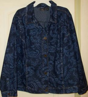 Erika Woman Stunning Dark Blue Denim with Paisley Print Jacket 2X