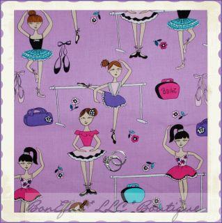 BonEful Fabric FQ Michael Miller Flower Swirl Pink Purple Brown Boho