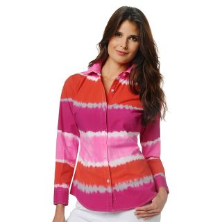 121 375 diane gilman dg2 striped tie dye long sleeve poplin shirt