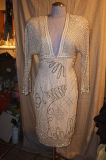 fabrice bergdorf goodman ivory silk silver clear heavily beaded tunic
