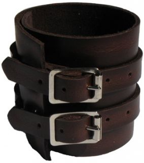 Elliott Smith Leather Handcrafted Mahogany Wristband Bracelet Cuff