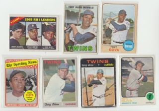 Tony Oliva Different Card Lot Vintage Star Twins 1966 1967 1968 1969