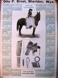 RARE Otto F Ernst Sheridan Wyoming 1914 Calendar Western Cowboy Saddle