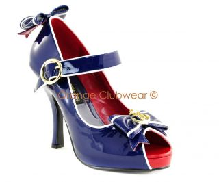 PLEASER Womens Navy Sailor Costume Sexy Halloween Shoes