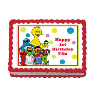Sesame Street Elmo Cookie Monster Edible Birthday Cake Party Image