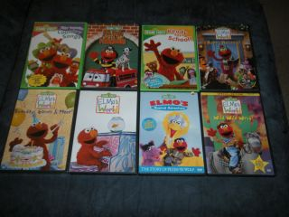 Lot of 8 Kids Sesame Street ELMOs World DVDs