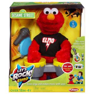 Sesame Street Elmo Lets Rock Plays Tambourine Drum Set