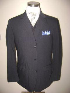 Emanuel Ungaro mens 3btn dark charcoal gray wool sport coat jacket