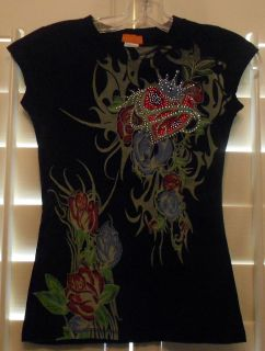 Embellished Womens T shirt w Crown Heart Roses Rhinestones Sz S