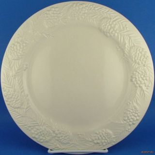 Sonoma Home Goods White Embossed Pine Cone Dinner Plate