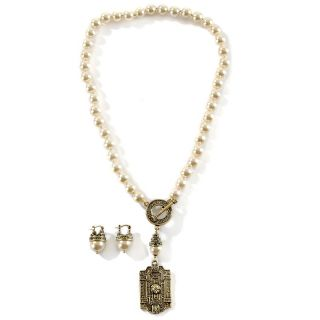 Heidi Daus Classic Edition Toggle Drop Necklace and Earrings Set at