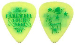 KISS Ace Frehley Farewell City Guitar Pick  Wichita neon yellow 8/28