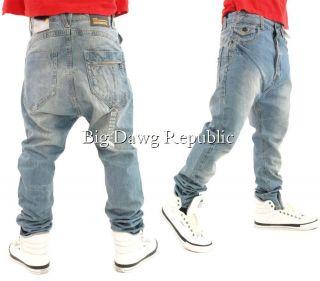 King Fashion Star Mens Jeans Drop Crotch Carrot Arc Bow Fit Big