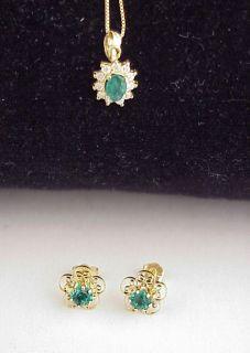 14K Yellow Gold Emerald Earrings & Diamond Pendant Set
