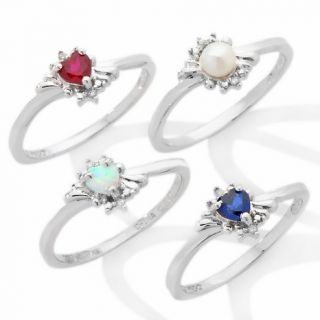 Precious Moments® Heart Shaped Birthstone Sterling Silver Ring with