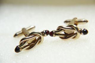 Vintage Original 1935 Love Knot Red Stone Yellow Gold Filled