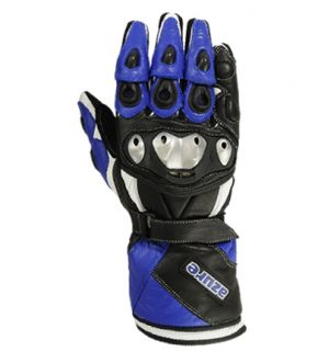 Motorbike Gloves Racing Motorcycle Cow Leather Blue TPU Molded
