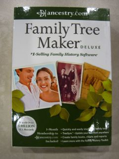 FAMILY TREE MAKER DELUXE 2012 EDITION ANCESTRY COM 3 MONTHS FREE