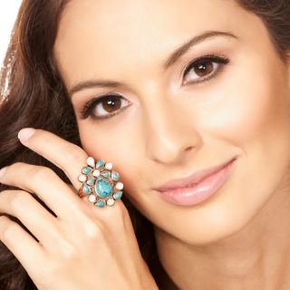 Jewelry Rings Gemstone CL by Design Turquoise and Mother of Pearl
