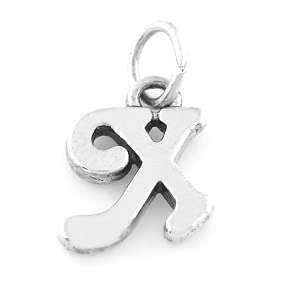 Sterling Silver 925 Fancy Letter x Charm Pendant