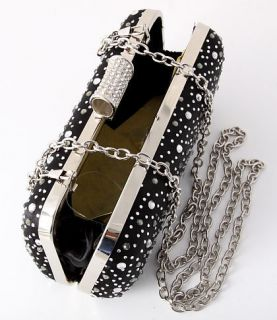 Glitter Black Evening Clutch Bag Silver Tone Frame Austrian Crystal
