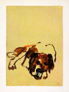 1966 Print Emil Nolde Castor Dog Pet Puppy Expressionism Watercolor