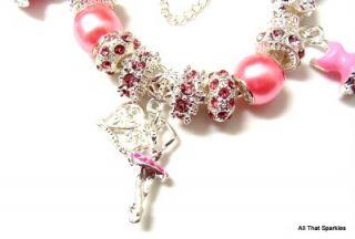 Pink Ballerina Ballet Dancer Tutu Child Girls Charm European Bracelet