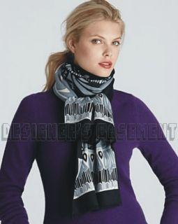EMILIO PUCCI black WILD WINTER Wool/Silk 2 ply Long 13x68 scarf NWT