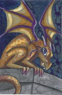 Live Gargoyle Big Eye Dragon Original Fantasy Art Acrylic Painting