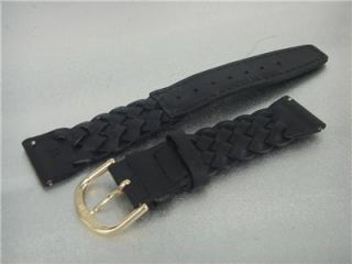 Braided Genuine Calfskin Leather Watch Band 18mm Black