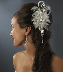 Vintage Bridal Feather Hair Fascinator w / Dangling Crystals Clip